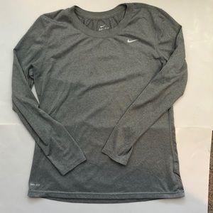 Nike Long Sleeve Dri Fit Grey T Shirt Size Large